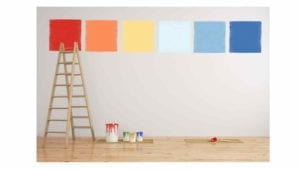 various colors of samples painted on wall