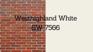 sw westhighland white paint swatch next to brick with swatch title