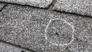 close up image of hail damage on an asphalt roof circled with chalk