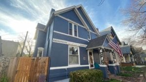 Blue victorian exterior denver home painted by kind home solutions