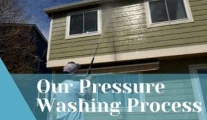 Pressure Washer spraying the backside of two story green home to prepare it for paint with a title card reading: Our Pressure Washing Process