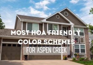 Photo of a two story gray/beige home painted by Kind Home Solutions with title reading: Most HOA friendly color schemes for Aspen Creek
