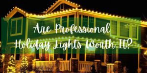 photo of a professional holiday light installation with text title: Are Professional Holiday lights worth it?