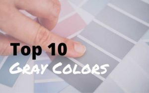image of a hand pointing to different grays on a color swatch with title reading: Top 10 Gray Colors